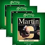 【 並行輸入品 】 Martin (マーティン) M170 80/20 Bronze Round Wound Extra Light アコースティックギター 弦 - 3 パック
