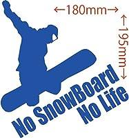 カッティングステッカー No SnowBoard No Life (スノーボード)・4 約180mm×約195mm ブルー 青
