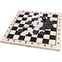 Perfk 木製 折り畳み式 ドラフツ 正方形ボード 西洋碁 国際チェッカー 64フィールド ギフト ゲーム 軽量