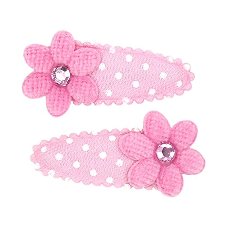 アクセサリーショップピエナ キッズ用ヘアパッチン 水玉模様と大きなお花 クリップ ドット柄 フラワー ストーン ピンク