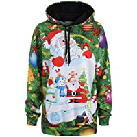 LOOKATOOL Women Christmas Santa Claus Snowman Hoodies Tops Sweatershirt Pullover