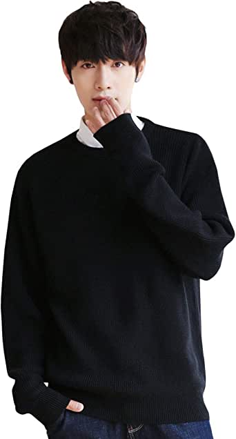 ニット セーター メンズ クルーネック ニットセーター 長袖 カジュアル セーター プルオーバー 暖かい 防寒 秋冬春 ブラック M