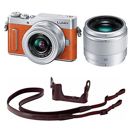 Panasonic ミラーレス一眼カメラ ルミックス GF90 ダブルレンズキット オレンジ DC-GF90W-D + ボディケースストラップキット ブラウン DMW-BCSK8-T セット