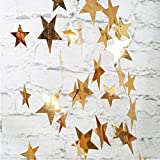 星 ガーランド プルフラワー 飾り付けカード スター 星 DIY バナー インテリア デコレーション 誕生日/パーティー/クリスマス (ゴールド)