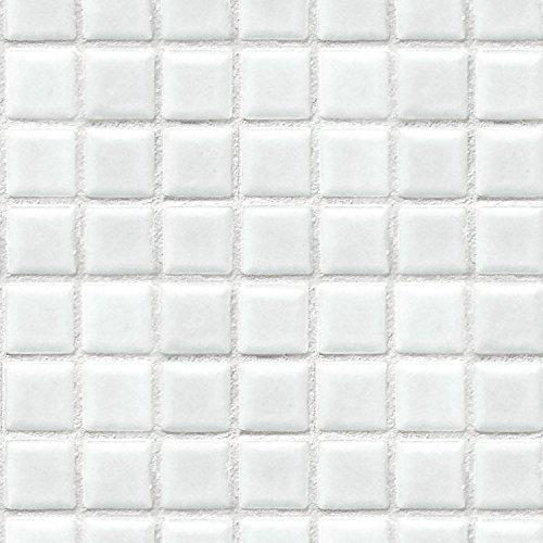貼ってはがせるリメイクシート「Hatte me(ハッテミー)」モザイクタイル柄 ホワイト (65cm×2.6mサイズ)