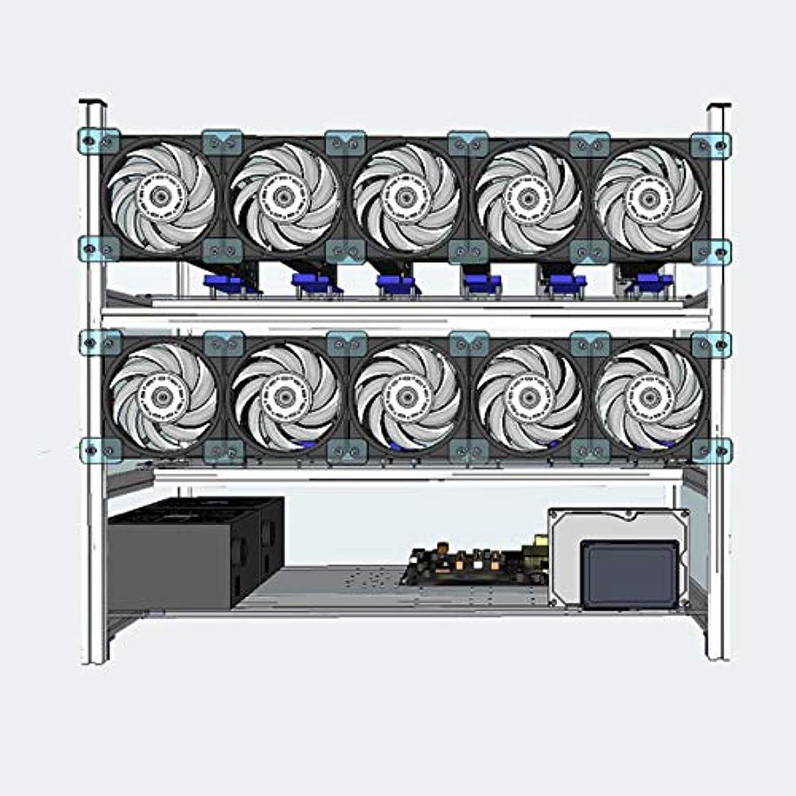 前投薬ネコスナッチFidgetGear アルミ製 オープンエアマイニングリグ 積み重ね可能フレームケースホルダー ファンなし12GPU ETH イーサリアム用
