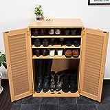 【下駄箱 シューズボックス 省スペース】 通気性が良い木製シューズボックス 60cm幅 「クイッカー」 リビングでも使える扉収納 色:ナチュラル