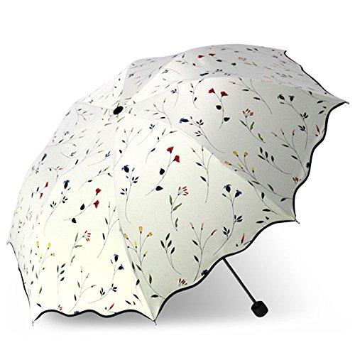 YIJODM 折り畳み傘 強度 8本骨 折りたたみ傘 花柄 晴雨兼用 レディース 日傘 UVカット 紫外線遮蔽率99% 高密度NC布 耐風撥水 収納ポーチ付き