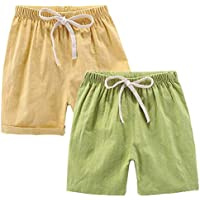 DUBASAM Kids Toddler Little Boy Girl Cotton Linen Summer Shorts Solid Color Casual Pants with Drawstring 2-7T