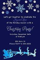 30招待状クリスマスパーティーNavy Blue Watercolor Glitter Personalizedカード子供大人+ 30ホワイト封筒