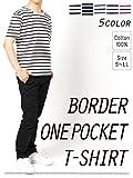 Doublefocus シンプル&ボーダーTシャツ 半袖 メンズ ティーシャツ シンプル 人気 トレンド