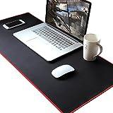 ANPHSIN-BIGサイズ 長さ89cm*幅40cm*厚さ0.3cm マウスマット/ノートパソコンマット/キーボードマット-ゲーム専用 人工皮革製 裏面滑り止め 傷防止 防水加工 黒色