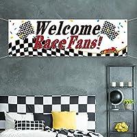 Blulu Racing パーティーデコレーション ウェルカムレースファン バナー レーシングパーティー用品 レースカーバナー ガーランド 背景 写真ブース小道具 レーシングカー 誕生日パーティー装飾