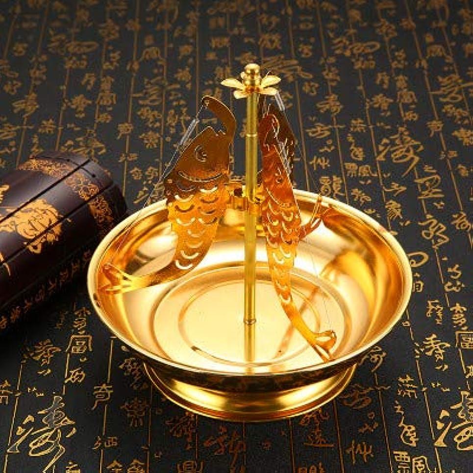 過ち高齢者コインPHILOGOD 合金香炉 香立て 鯉のスタイリング線香立て 香皿 (Gold)