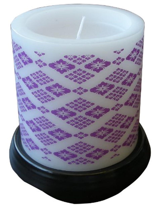 夫化学薬品集めるマルエス 和みローソク 菱模様 紫 燭台付き