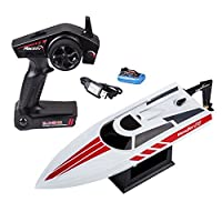 Novcolxya Model High Speed Electric 2.4GHz RC Boat Technology 20MPH w/Remote Control - Perfect Toy for Pools Bathtubs Lakes Any Water [White] [並行輸入品]
