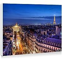 フランス、パリ、地方オペラ、建物、家、夜間照明 - 壁の絵 壁掛け ソファの背景絵画 壁アート写真の装飾画の壁画 - (40cmx30cm)