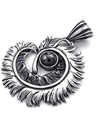 [テメゴ ジュエリー]TEMEGO Jewelry メンズキュービックジルコニアステンレススチールヴィンテージペンダントゴシックフェザーネックレス、ブラックシルバー[インポート]