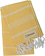 Bersuse 100% Cotton - Anatolia Hand Turkish Towel - Head Hair Face Baby Care Kitchen - 22X35 Inches, Yellow