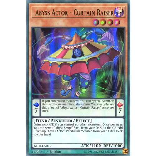 YuGiOh : BLLR-EN012 1st Ed Abyss Actor - Curtain Raiser Ultra Rare Card - ( Battle of Legend Lights Revenge Yu-Gi-Oh Single Card )