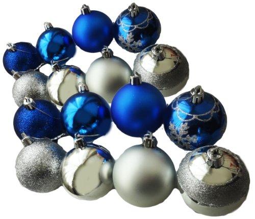 Cosjob 拘り装飾 ! クリスマスオーナメント 6cm 16個(2色X8個) AmanoSongオリジナル16個セット(A299) Xmas クリスマス オーナメントボール ツリー クリスマスツリー 装飾 飾り パーティー 忘年会 (シルバー&ブルー)