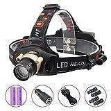 ヘッドランプ LED 充電式 ヘッドライト 高輝度 1200ルーメン センサー ズーム機能付 60°角度調節 登山 夜釣り 18650 / 単3電池両方対応 Taotuo