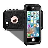 VersionTech 改良版 防水ケース カバー iPhoneSE/iPhone5/iPhone5s対応 スマホケース 防塵 耐衝撃 耐雪性 敏感なタッチ 防水保護等級IPx68 touch ID 指紋認証対応「ブラック」