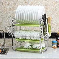 キッチンクラフト ドリップトレイと多機能食器棚食器乾燥ラックは、食器、カップ、キッチンアイテム(3層)を配置することができます 安全性 (Color : 緑)