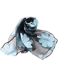 PINKING スカーフ レデイース ストール 葉 大判 薄手 冷房対策 日焼け止め お洒落 海辺 オーガンザ
