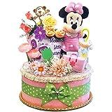 出産祝い ディズニー ミニー おむつケーキ カーター ダイパーケーキ 女の子 パンパース Sサイズ (W)