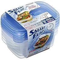 ラストロウェア スマートフラップ AG+ 角型 S 400mL ブルー A-040 LB(4コ入) ホーム&キッチン 保存容器・ストッカー 保存容器 k1-4901126104077-ak