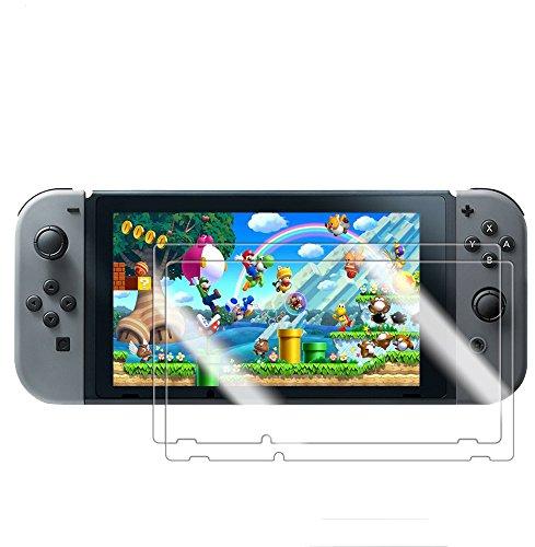 AutoGo 任天堂 Nintendo Switch ガラスフィルム 2017年最新版 ニンテンドー スイッチ 液晶保護 フィルム 超薄0.2mm 硬度9H 旭硝子素材 【2枚セット】