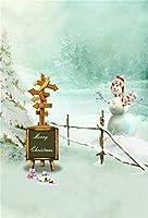 aofoto 6x 8ft Merryクリスマス写真撮影背景スノーフレーク雪だるまBackdropアウトドアフェンスクリスマスPinetree Baby Kid Girl Boy Artistic Portrait冬Photoshoot Studio Propsビデオドレープ壁紙