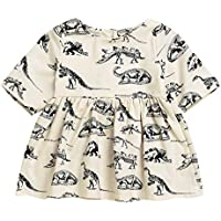 Mini honey Infant Toddle Baby Girls Cotton Dinosaur Print Half Sleeve Skirt Dress Summer Outfit Clothing