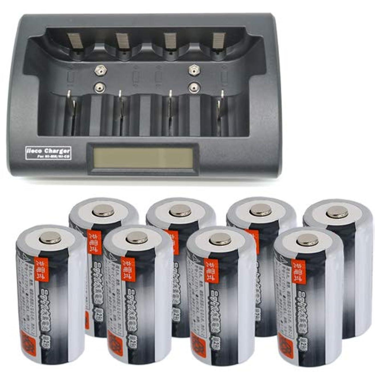パントリーパッド試してみる【JC】【iieco】単1~単4 充電池対応充電器+ 充電池 単2形 8本セット