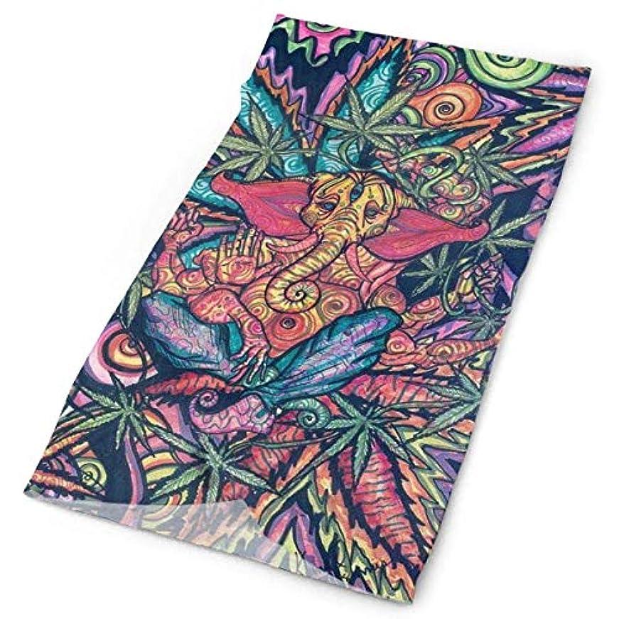 それ書道抽出Trippy Art Marijuana Weed Leaf Versatileフェイスマスクシールド、カジュアルなバラクラバのヘッドウェア、伸縮性のあるバンダナヘッドバンド、風/日光/紫外線からの保護/ダストネックゲイター