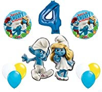 The Smurfs誕生日パーティーSupplies Smurf、Smurfette 4th Smurfy誕生日バルーンデコレーション