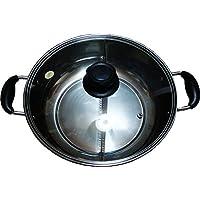 ステンレス製 二層 しゃぶしゃぶ鍋 THE THICK HOT POT  仕切り鍋 両手鍋 二槽火鍋 Mサイズ 26cm (内径)  蓋付