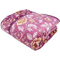 昭和西川 毛布 2枚合わせ フランネル 綿入り 衿付き 洗える フラワーピンク シングル