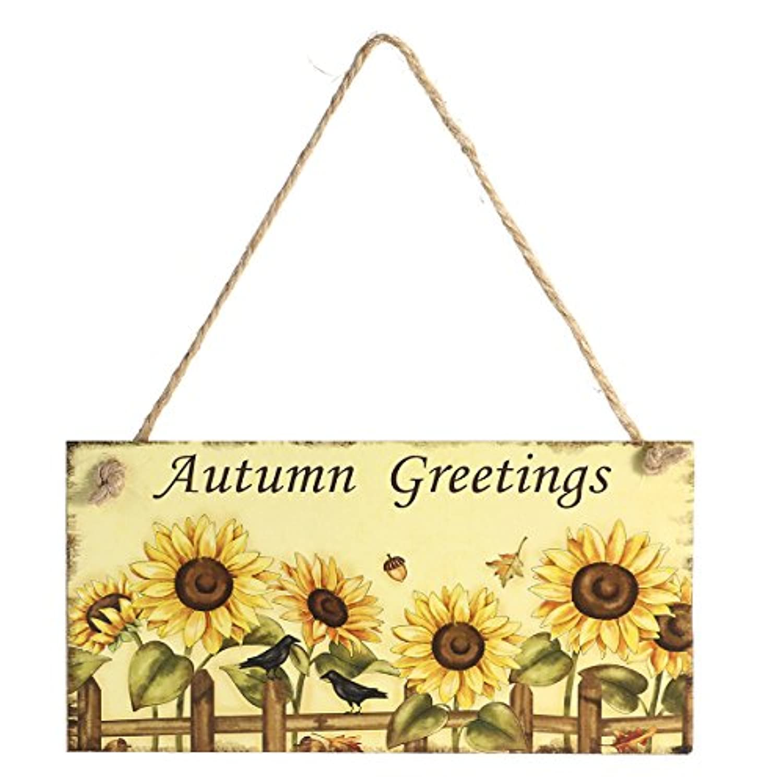 LUOEM 木製の飾りつけのプラーク装飾的なサインホームデコレーションハロウィーンイースター木製(秋の挨拶)