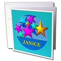 SmudgeArtメス子名Designs青い背景に星–鮮やかな色でパーソナライズ名前Janice–グリーティングカード Individual Greeting Card