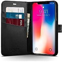【Spigen】 スマホケース iPhone X ケース 手帳型 カード収納付き Qi充電対応 スタンド 機能 レザー ウォレットS 057CS22176 (ブラック)