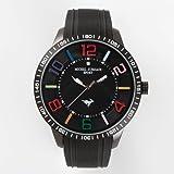 [ミッシェルジョルダン]michel Jurdain 腕時計 1Pダイヤモンド ステンレス ケース シリコン ベルト ウォッチ ブラック×ブラック MJ-7700-1 メンズ