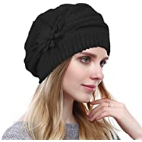 Original One Women's Solid Knit Furry French Beret - Fall Winter Fleece Lined Paris Artist Cap Beanie Hat