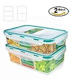 仕切付き お弁当箱 2個セット プラスチック 汁漏れなしお弁当箱 電子レンジ/食洗機対応 ピクニック保存容器 タッパー