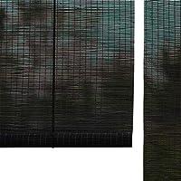 すだれ 窓のための黒いプライバシーのタケローラーのブラインド、縦の停電は台所および喫茶店、60%の軽いろ過のための色合いを転がします (色 : Hook up, サイズ さいず : 80×120cm)