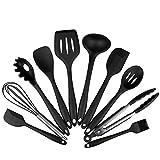 Meily シリコンキッチンツール 耐熱 キッチン用品 クッキング用品 調理器具 (ブラック 10点セット)