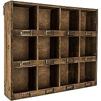 アンティークブラウン木製壁シェルフwith 12-slots