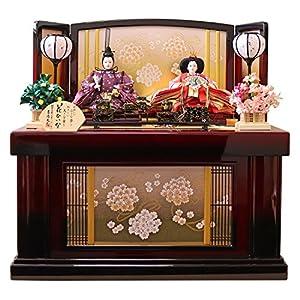 吉徳 雛人形 親王収納飾り 間口68×奥行44×高さ69cm 桜柄金紙屏風 605460