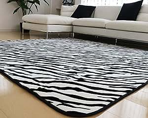 ラグ 洗える 200×250 ラグマット 滑り止め付 マット ラグカーペット 夏 冬 カーペット ホットカーペット対応 フランネル 長方形 四角 絨毯 リビング 床暖房対応 マイクロファイバー Lサイズ (Lゼブラ・ブラック)